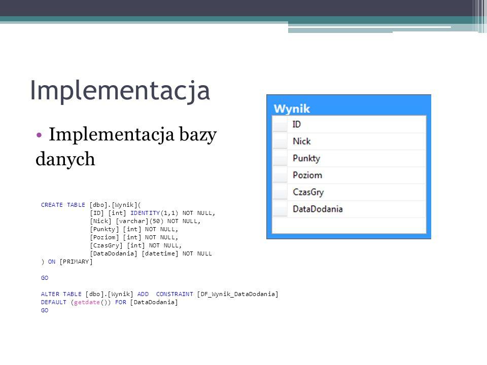 Implementacja Implementacja bazy danych CREATE TABLE [dbo].[Wynik](